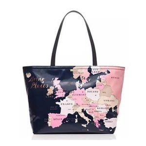 Kate Spade going places world map tote bag (rare)